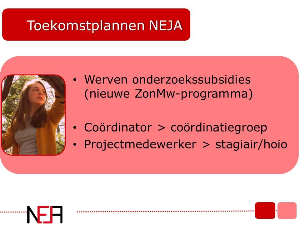 Toekomstplannen NEJA Werven onderzoekssubsidies (nieuwe ZonMw-programma) Coördinator > coördinatiegroep.