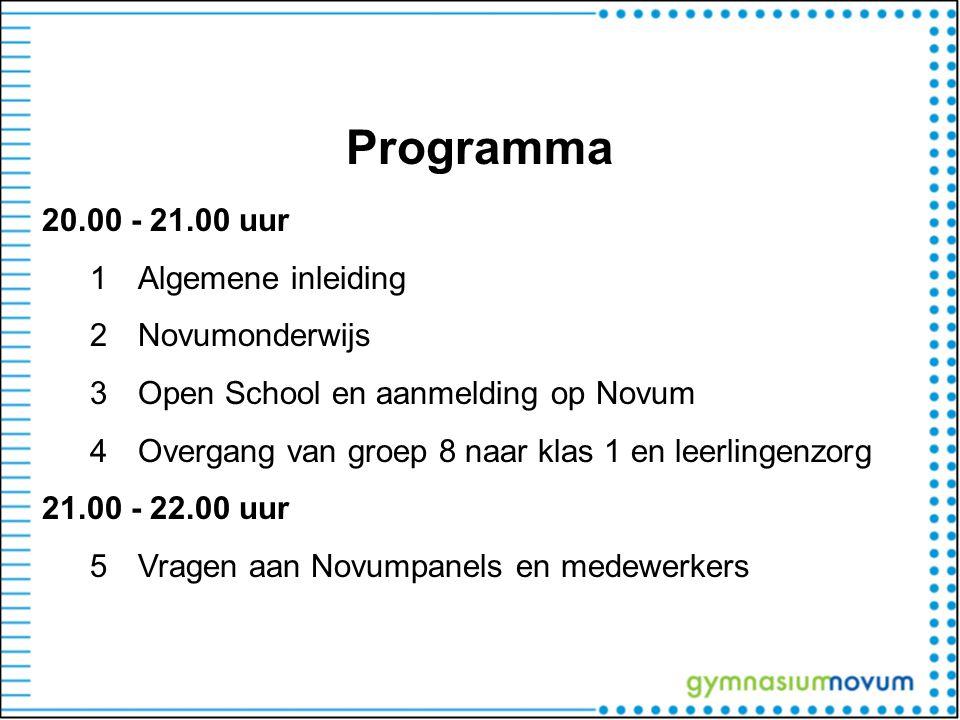 Programma 20.00 - 21.00 uur Algemene inleiding Novumonderwijs