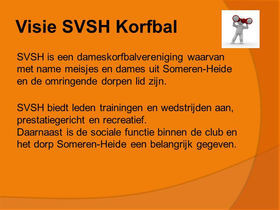 Visie SVSH Korfbal SVSH is een dameskorfbalvereniging waarvan met name meisjes en dames uit Someren-Heide en de omringende dorpen lid zijn.