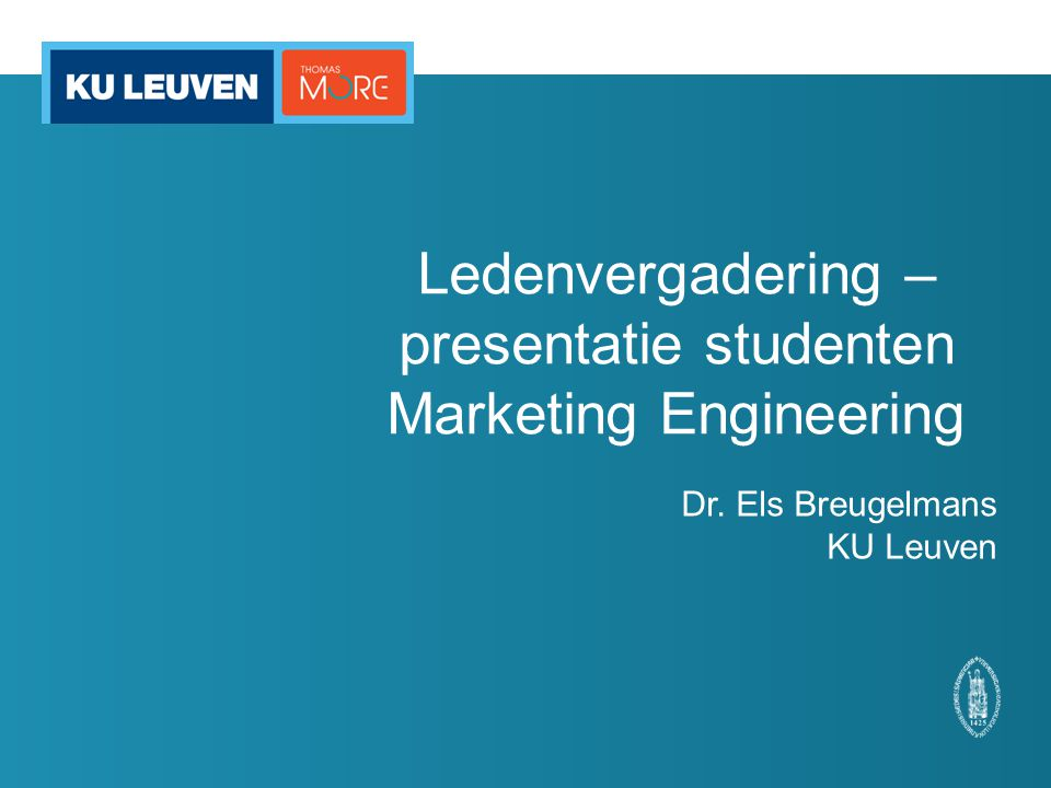 Ledenvergadering – presentatie studenten Marketing Engineering