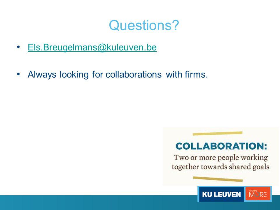 Questions Els.Breugelmans@kuleuven.be