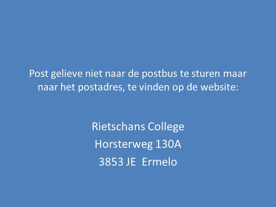 Rietschans College Horsterweg 130A 3853 JE Ermelo