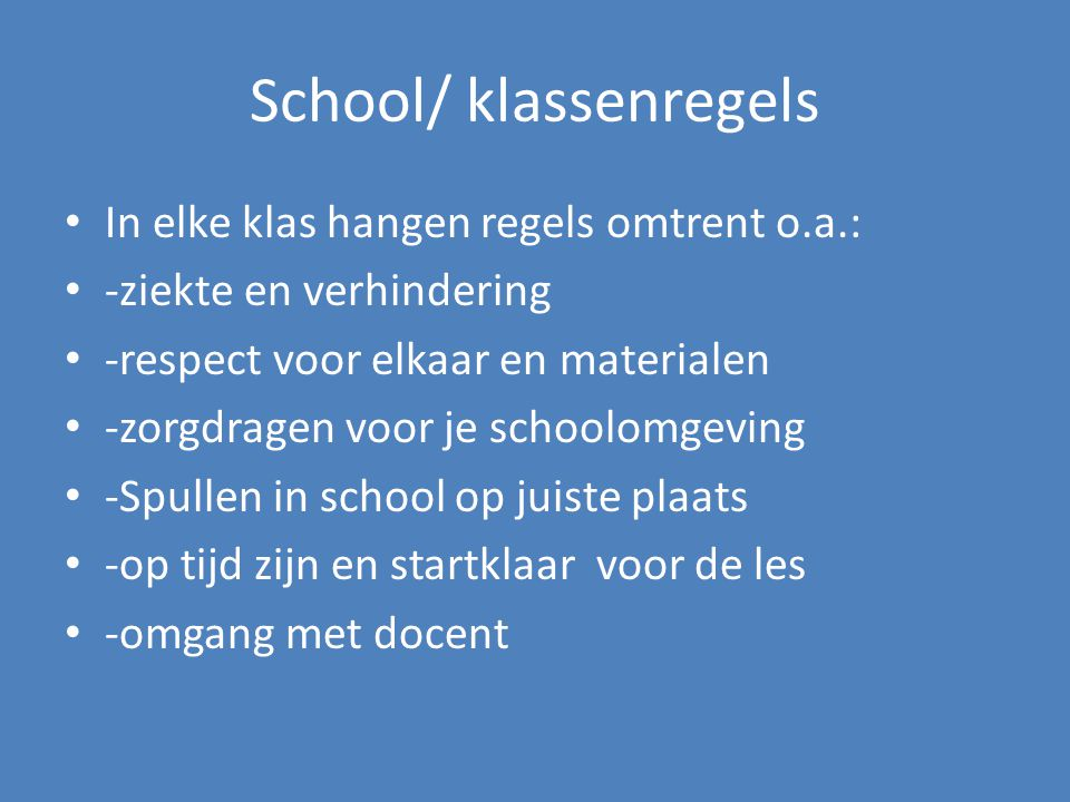 School/ klassenregels