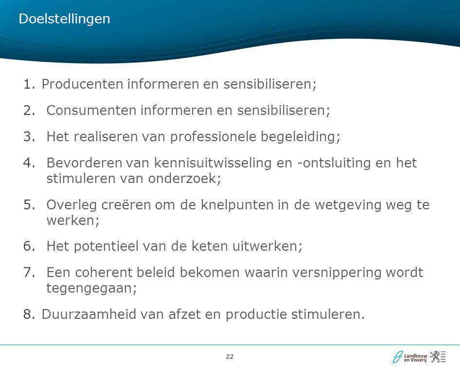 Doelstellingen Producenten informeren en sensibiliseren; Consumenten informeren en sensibiliseren;