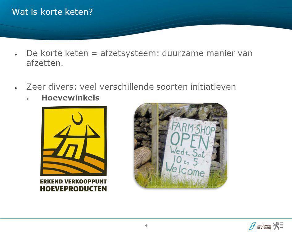 De korte keten = afzetsysteem: duurzame manier van afzetten.