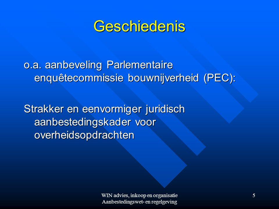 WIN advies, inkoop en organisatie Aanbestedingswet- en regelgeving