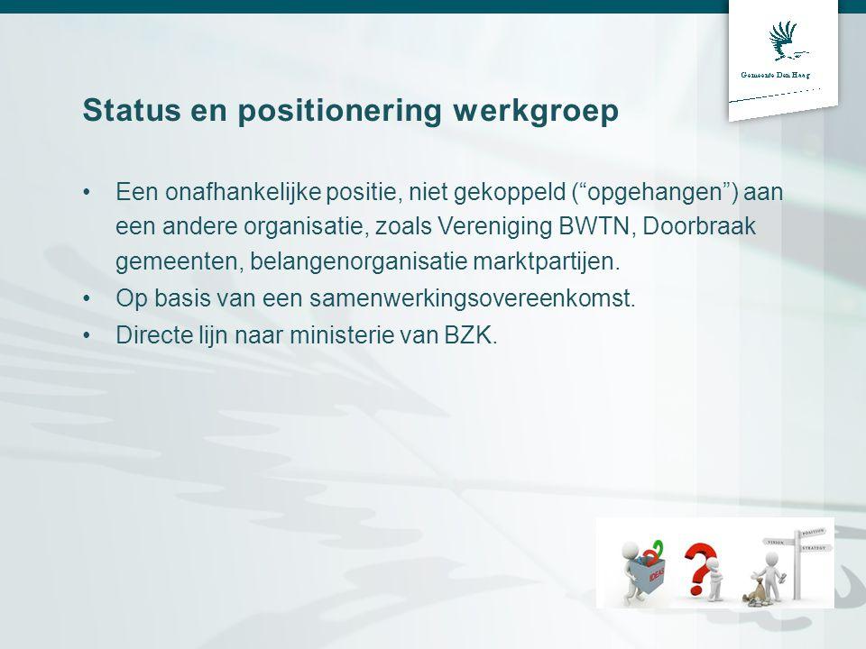 Status en positionering werkgroep