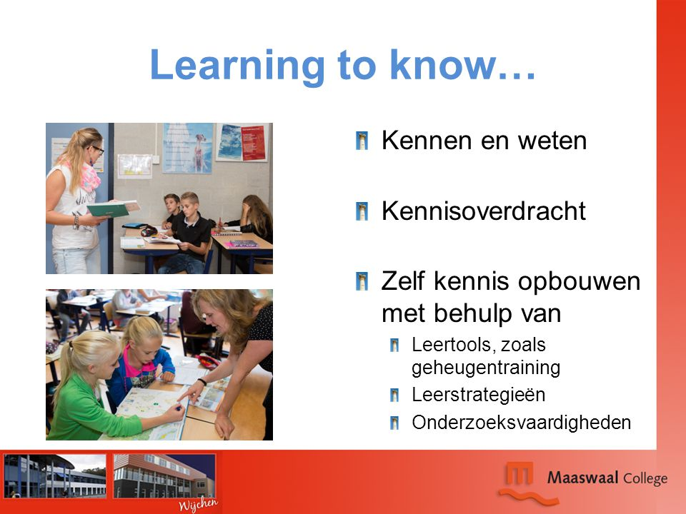 Learning to know… Kennen en weten Kennisoverdracht