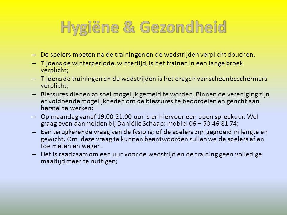Hygiëne & Gezondheid De spelers moeten na de trainingen en de wedstrijden verplicht douchen.