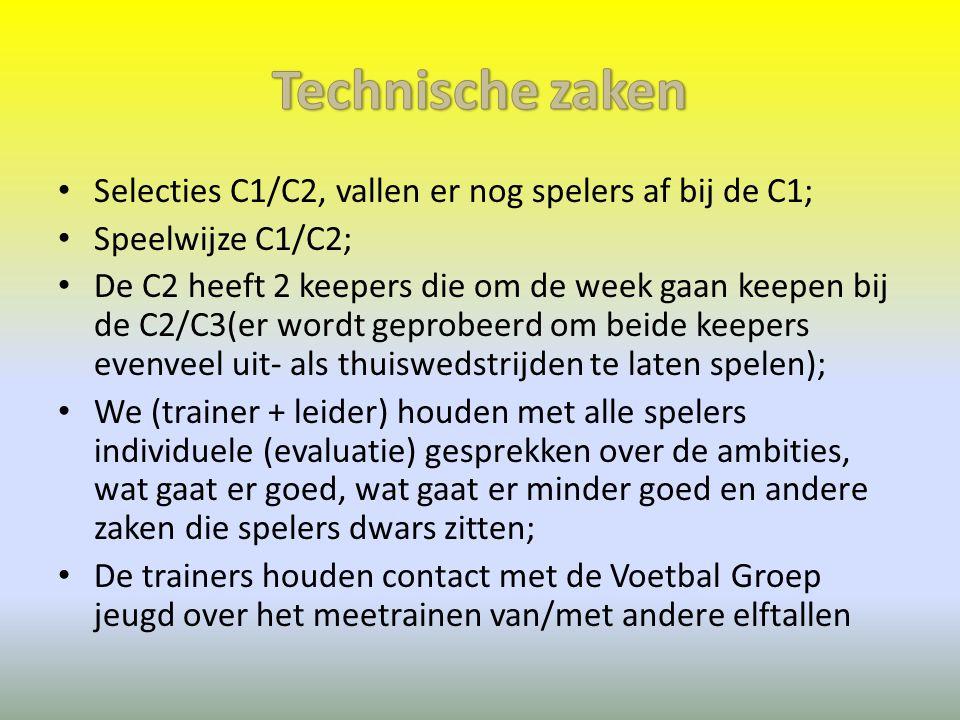 Technische zaken Selecties C1/C2, vallen er nog spelers af bij de C1;