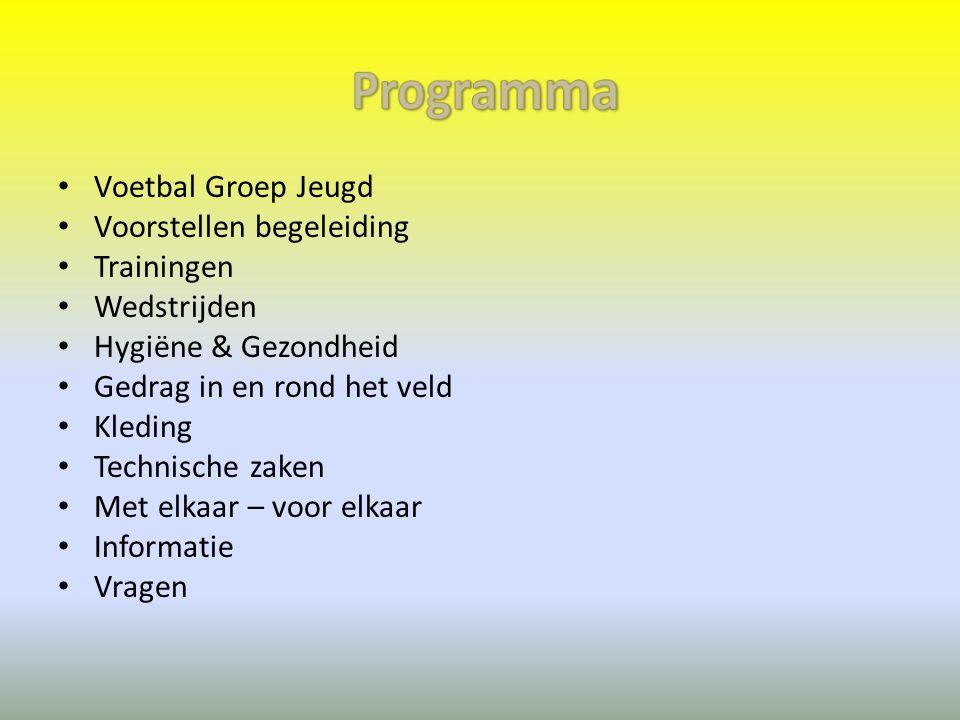 Programma Voetbal Groep Jeugd Voorstellen begeleiding Trainingen