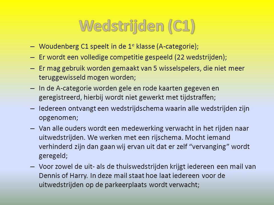 Wedstrijden (C1) Woudenberg C1 speelt in de 1e klasse (A-categorie);