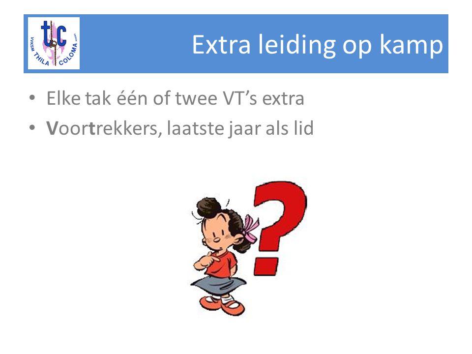 Extra leiding op kamp Elke tak één of twee VT's extra