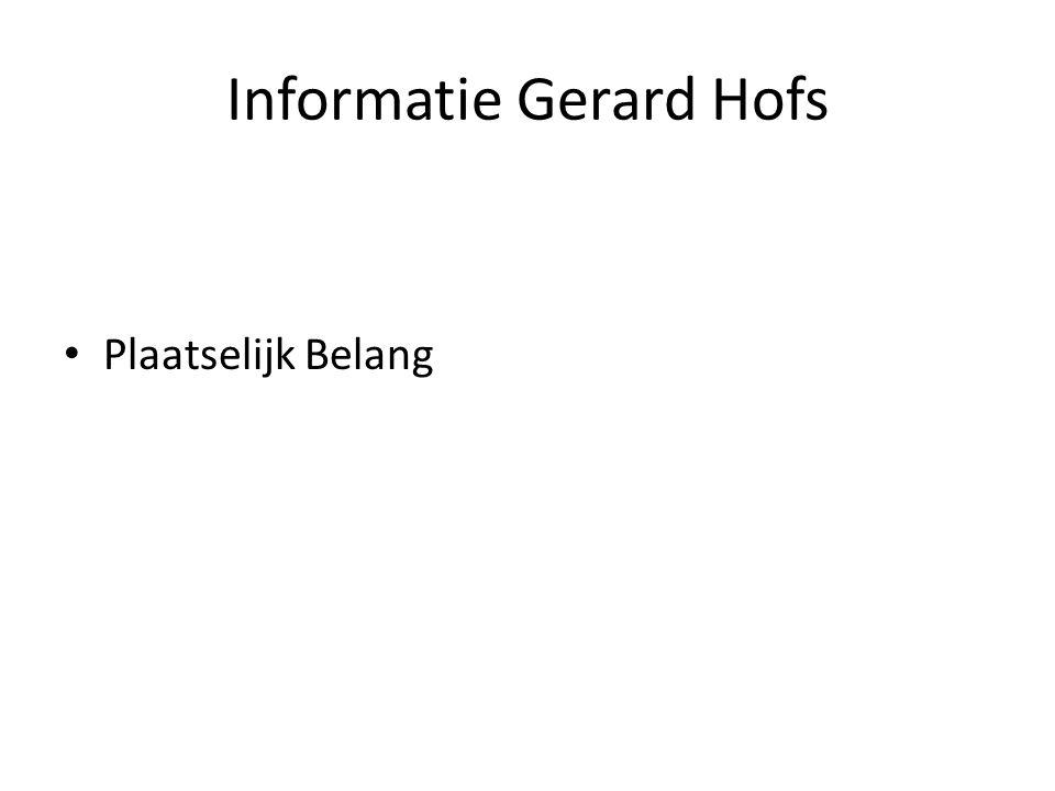 Informatie Gerard Hofs