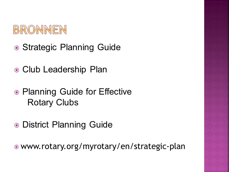 BRONNEN Strategic Planning Guide Club Leadership Plan