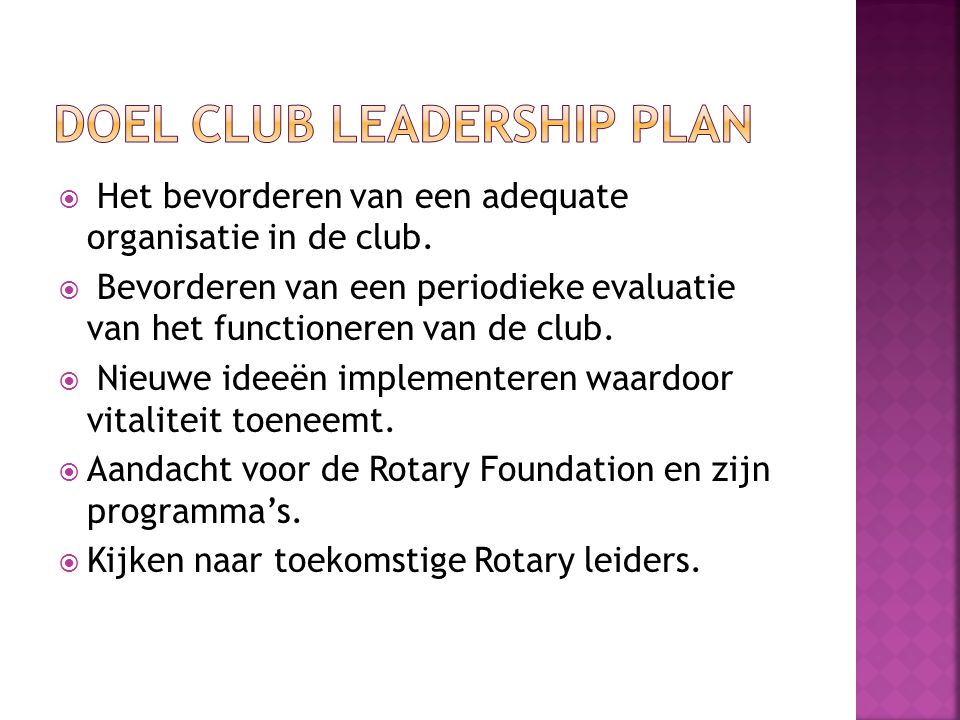 DOEL CLUB LEADERSHIP PLAN
