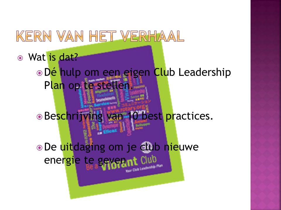 KERN VAN HET VERHAAL Wat is dat Dé hulp om een eigen Club Leadership Plan op te stellen. Beschrijving van 10 best practices.