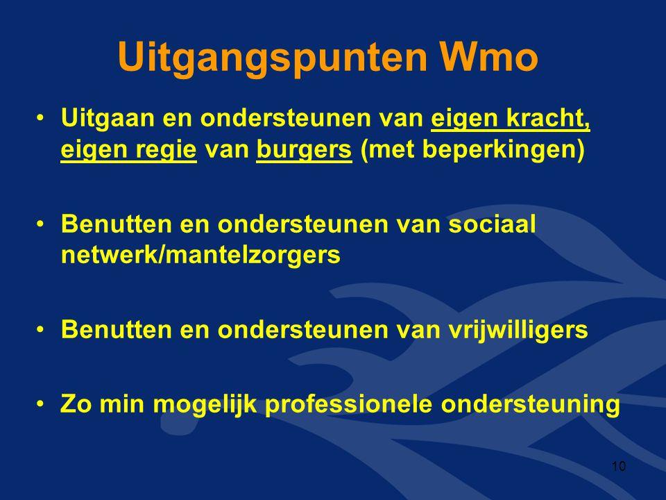 Uitgangspunten Wmo Uitgaan en ondersteunen van eigen kracht, eigen regie van burgers (met beperkingen)