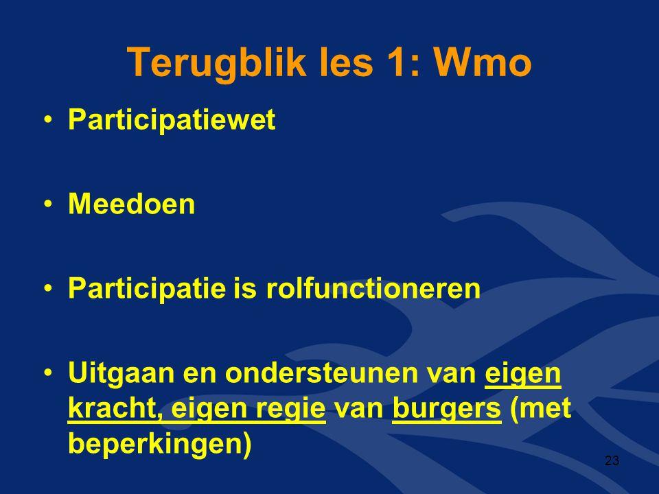 Terugblik les 1: Wmo Participatiewet Meedoen