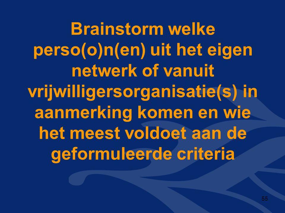 Brainstorm welke perso(o)n(en) uit het eigen netwerk of vanuit vrijwilligersorganisatie(s) in aanmerking komen en wie het meest voldoet aan de geformuleerde criteria