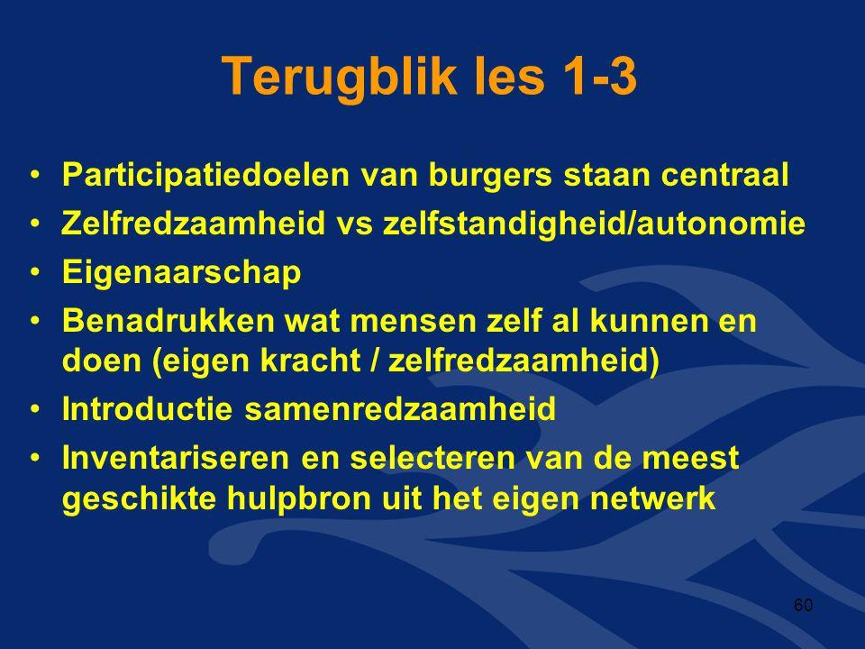 Terugblik les 1-3 Participatiedoelen van burgers staan centraal