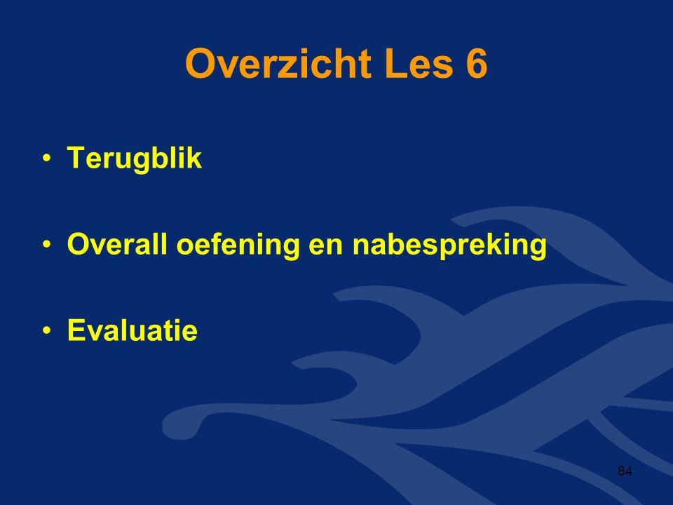 Overzicht Les 6 Terugblik Overall oefening en nabespreking Evaluatie