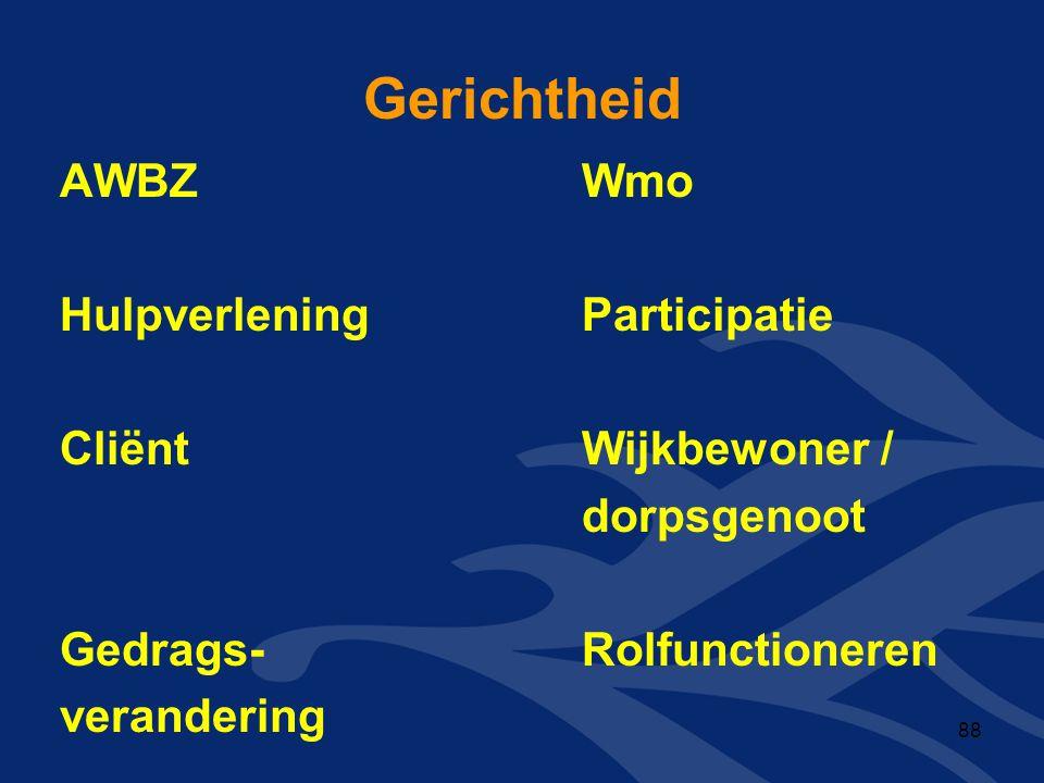 Gerichtheid AWBZ Wmo Hulpverlening Participatie Cliënt Wijkbewoner /