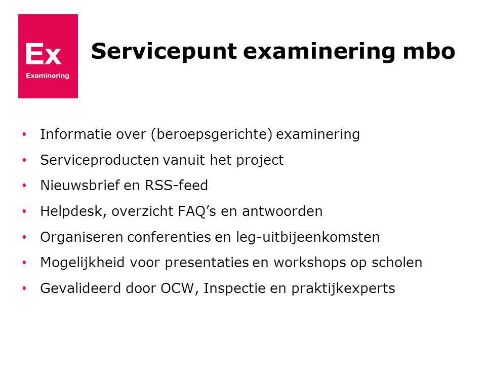 Servicepunt examinering mbo