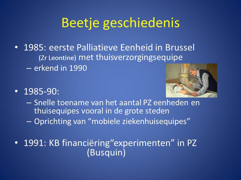 Beetje geschiedenis 1985: eerste Palliatieve Eenheid in Brussel (Zr Leontine) met thuisverzorgingsequipe.