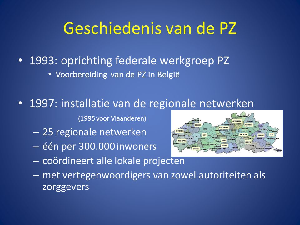 Geschiedenis van de PZ 1993: oprichting federale werkgroep PZ