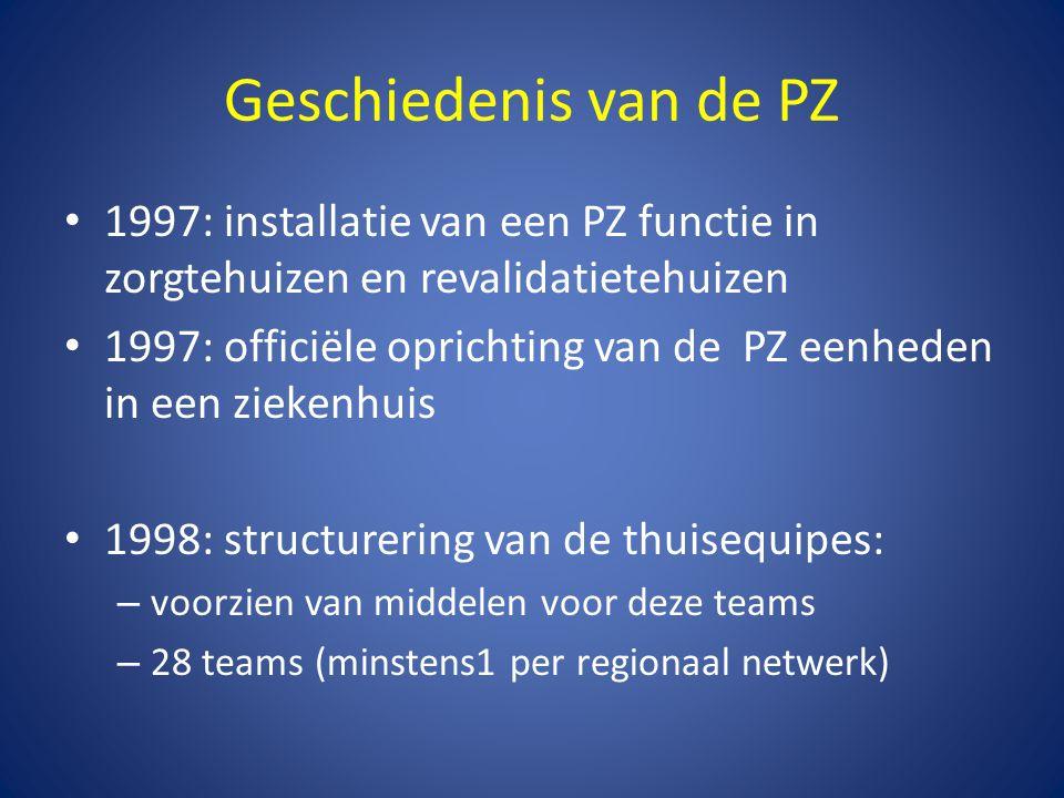 Geschiedenis van de PZ 1997: installatie van een PZ functie in zorgtehuizen en revalidatietehuizen.
