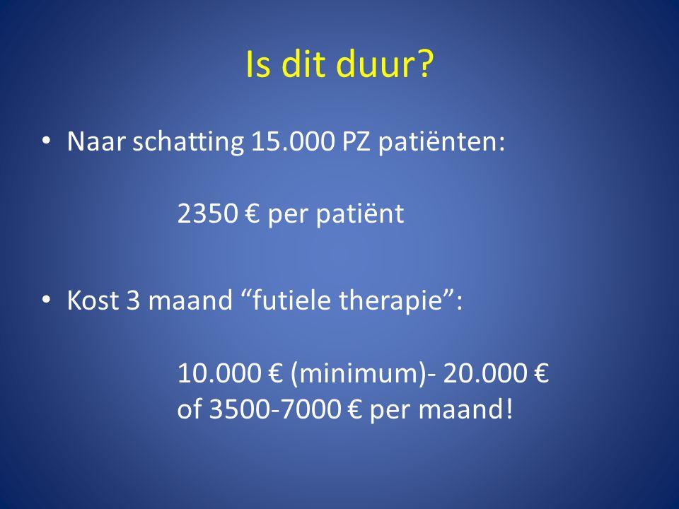 Is dit duur Naar schatting 15.000 PZ patiënten: 2350 € per patiënt