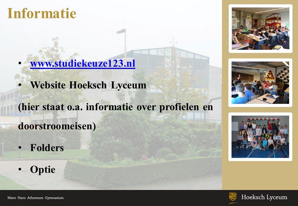 Informatie www.studiekeuze123.nl Website Hoeksch Lyceum