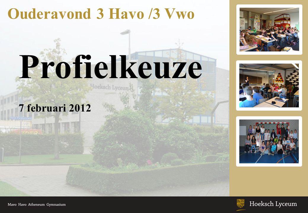 Profielkeuze Ouderavond 3 Havo /3 Vwo 7 februari 2012 Keuzeonderwijs: