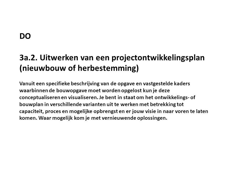 DO 3a.2. Uitwerken van een projectontwikkelingsplan (nieuwbouw of herbestemming)