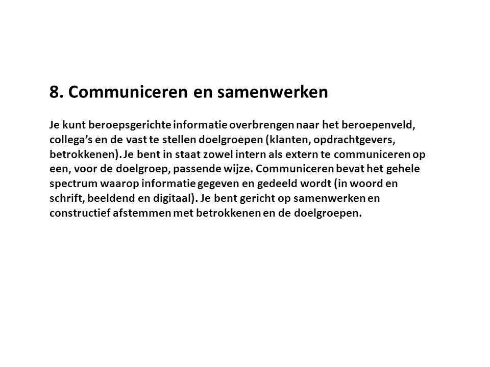 8. Communiceren en samenwerken