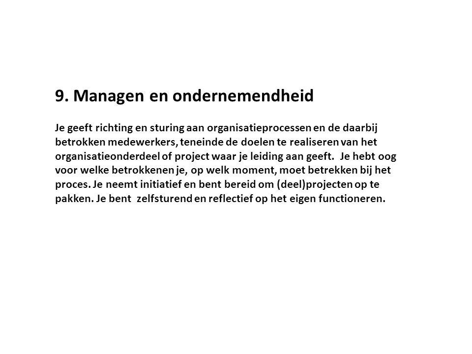 9. Managen en ondernemendheid