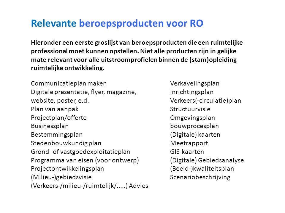 Relevante beroepsproducten voor RO