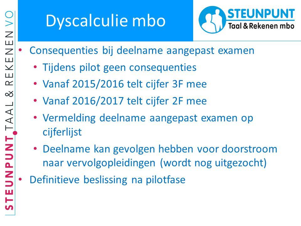 Dyscalculie mbo Consequenties bij deelname aangepast examen