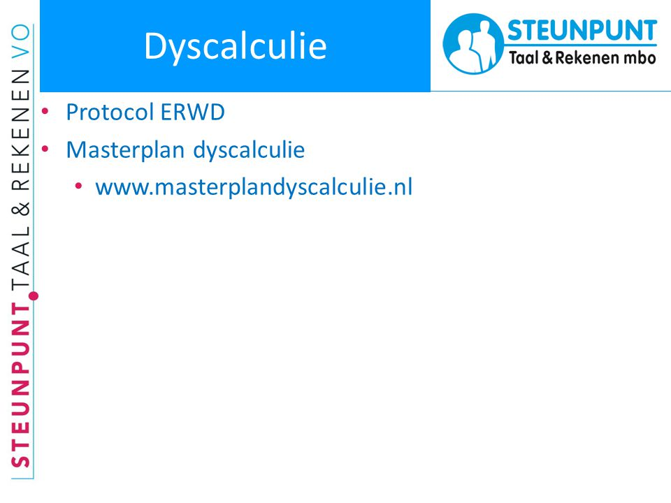 Dyscalculie Protocol ERWD Masterplan dyscalculie