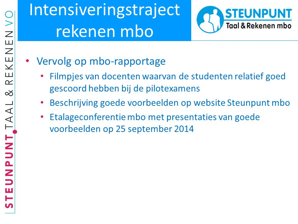 Intensiveringstraject rekenen mbo