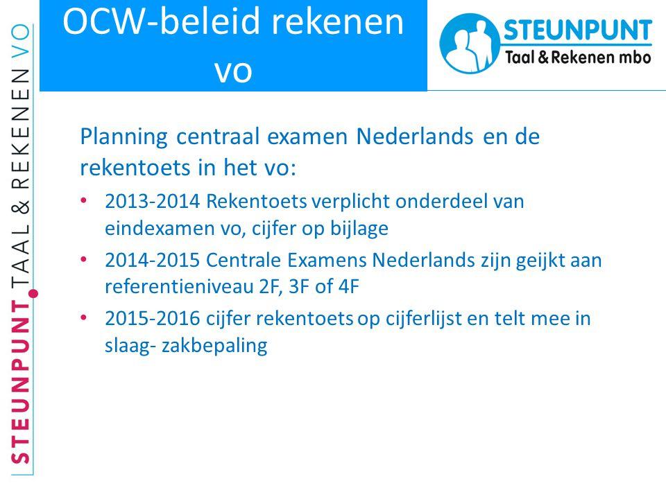 OCW-beleid rekenen vo Planning centraal examen Nederlands en de rekentoets in het vo: