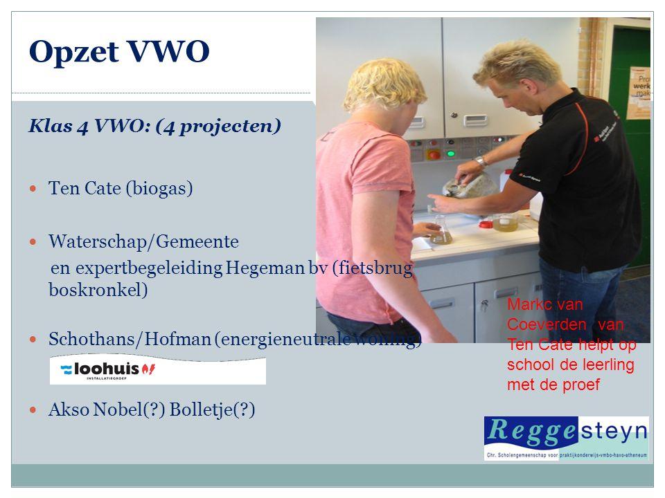 Opzet VWO Klas 4 VWO: (4 projecten) Ten Cate (biogas)