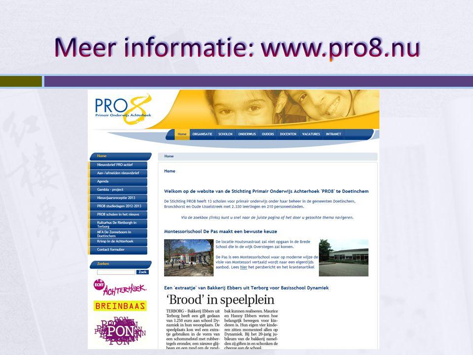 Meer informatie: www.pro8.nu