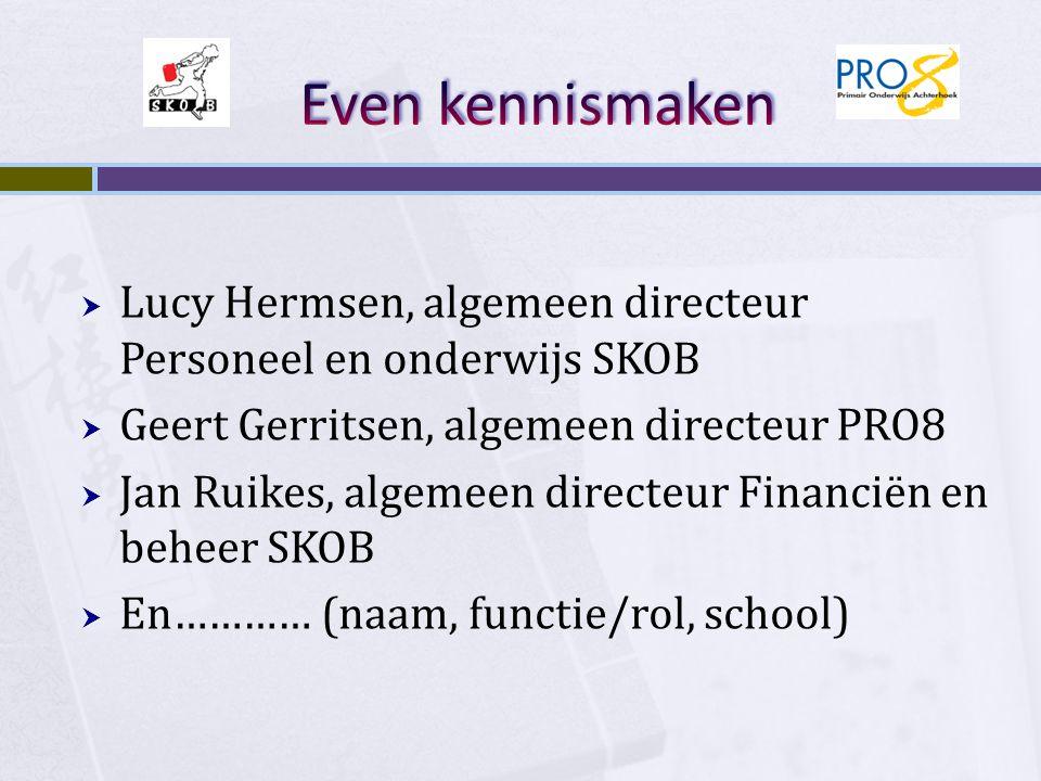 Even kennismaken Lucy Hermsen, algemeen directeur Personeel en onderwijs SKOB. Geert Gerritsen, algemeen directeur PRO8.