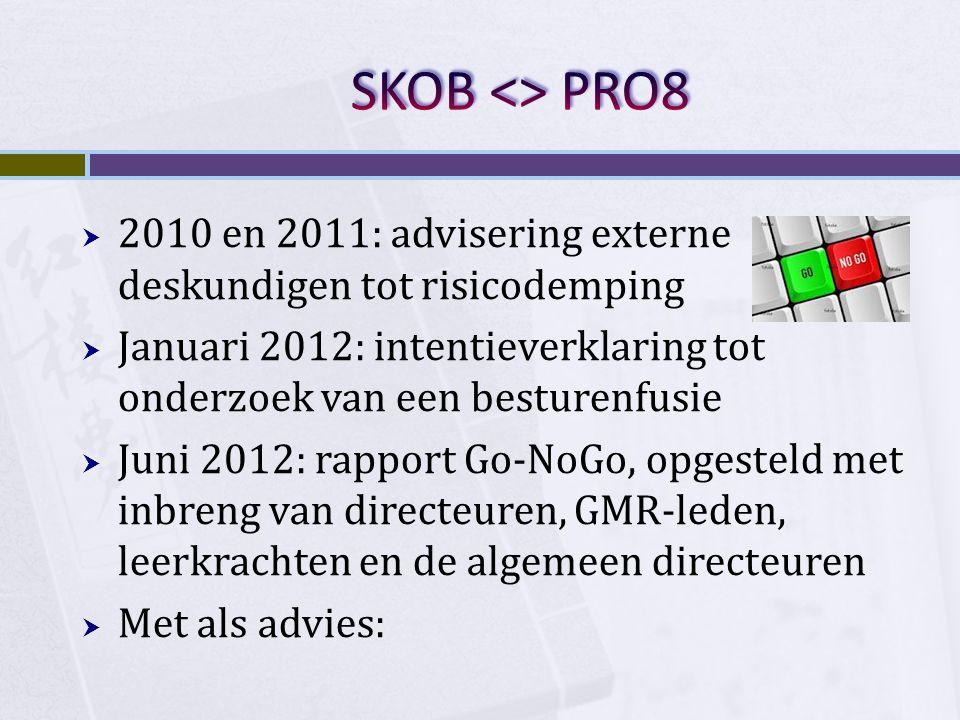 SKOB <> PRO8 2010 en 2011: advisering externe deskundigen tot risicodemping. Januari 2012: intentieverklaring tot onderzoek van een besturenfusie.