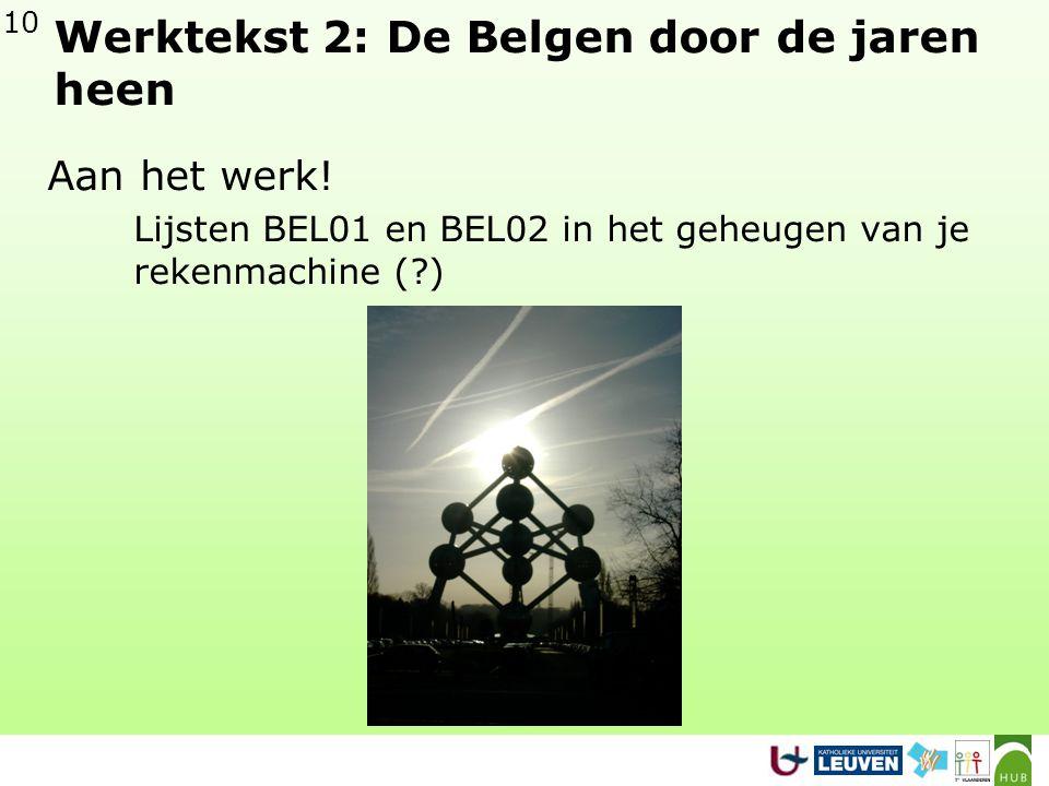 Werktekst 2: De Belgen door de jaren heen