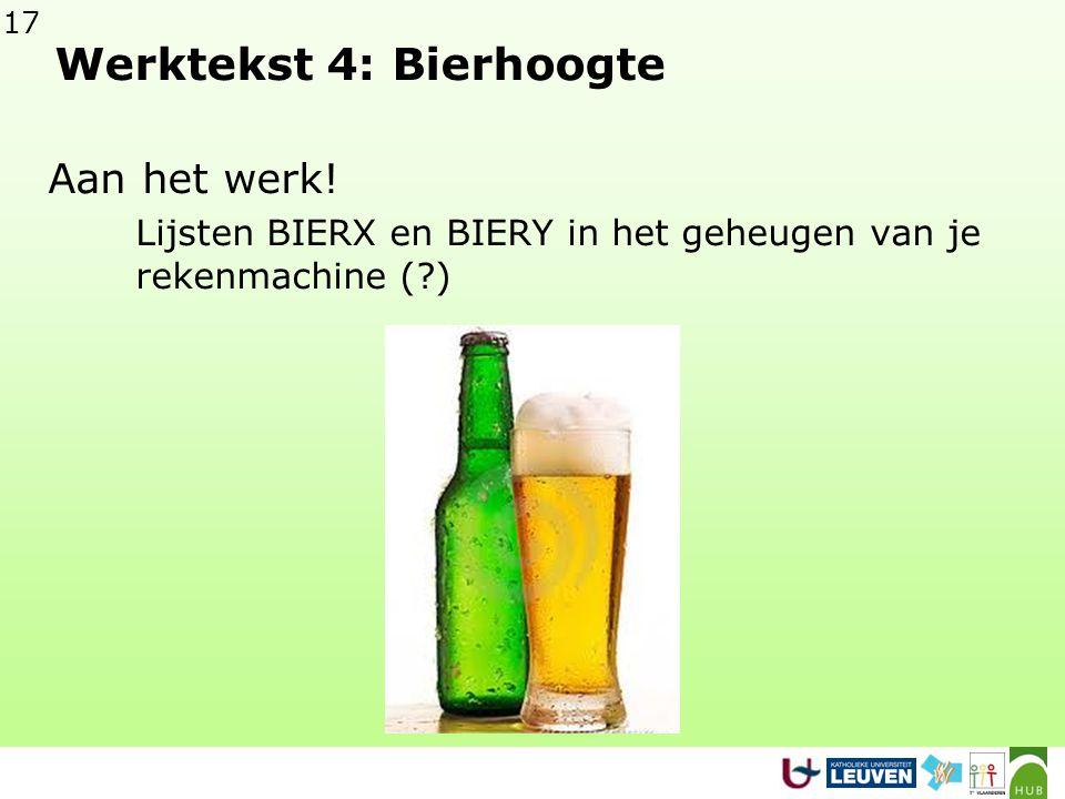 Werktekst 4: Bierhoogte