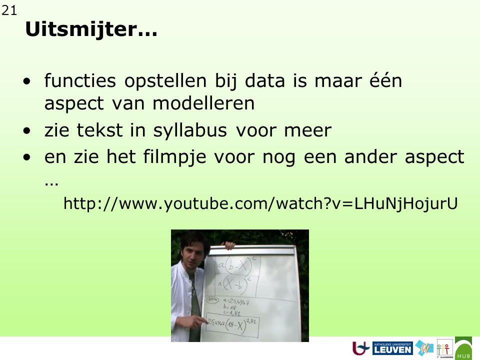 Uitsmijter… functies opstellen bij data is maar één aspect van modelleren. zie tekst in syllabus voor meer.