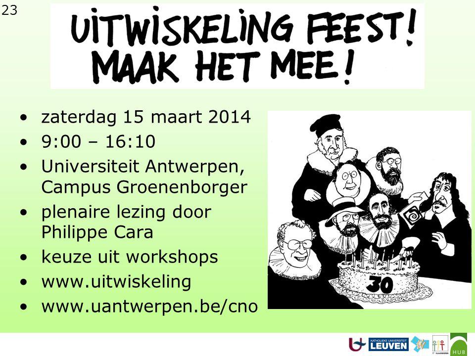 zaterdag 15 maart 2014 9:00 – 16:10. Universiteit Antwerpen, Campus Groenenborger. plenaire lezing door Philippe Cara.